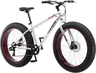 Mongoose Malus Fat Tire Bike with 26-Inch Wheels, with Steel Frame, 7-Speed Shimano Drivetrain, and Mechanical Disc Brakes