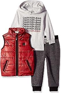 Calvin Klein Baby Boys 3 Pieces Vest Set-Hooded