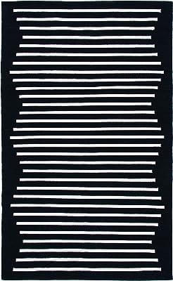 SAFAVIEH Montauk Collection MTK313Z Handmade Modern Stripe Cotton Living Room Bedroom Entryway Accent Area Rug 3' x 5' Black/Ivory