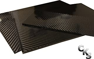 (1) Carbon Fiber Plate - 200mm x 300mm x 3mm Thick - 100% -3K Tow, Plain Weave -High Gloss Surface (1) Plate