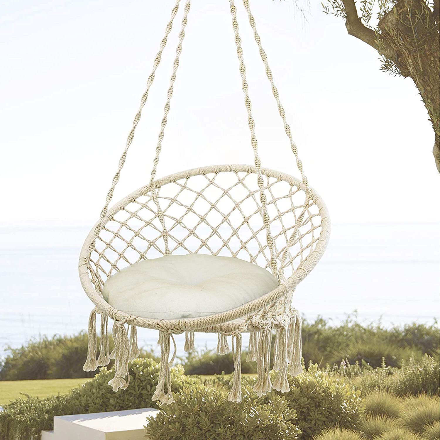 Decorman Hammock Chair Limited time Max 77% OFF cheap sale Macrame Swing with Lbs Cushion Max Ca 330