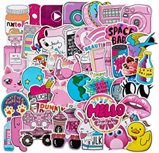 Cute Laptop Stickers for VSCO Girls[50PCS] - Pink Cartoon Sticker for Water Bottle Hydro Flask Macbook iPhone Phone Case iPad Bike Bumper Skateboard Luggage Bomb Waterproof DIY Decoration Gift Sticker