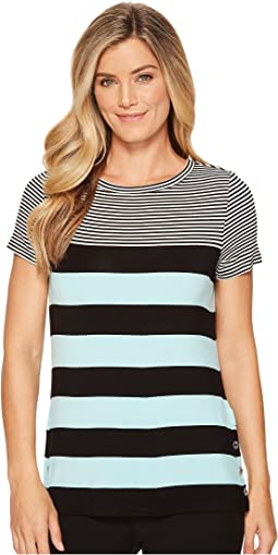 Short Sleeve Stripe Tee w/ Buttons