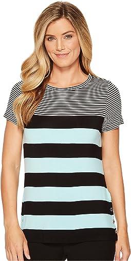 Calvin Klein - Short Sleeve Stripe Tee w/ Buttons