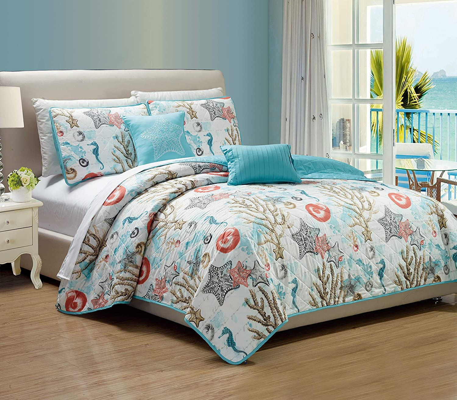 RT Designers Collection Coastal 5-Piece Quilt Set, King