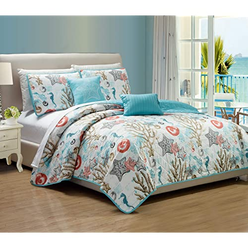 RT Designers Collection Blossom Printed 3-Piece Reversible Quilt Set,