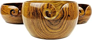 Premium Rosewood Crafted Wooden Portable Yarn Bowl | Knitting Bowls | Crochet Holder | Nagina International (Set of 3)