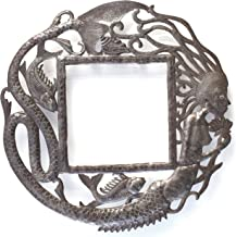 Mermaid with Fish Circular Wall Frame Handmade in Haiti from Recycle Metal 23 x 23 Inches