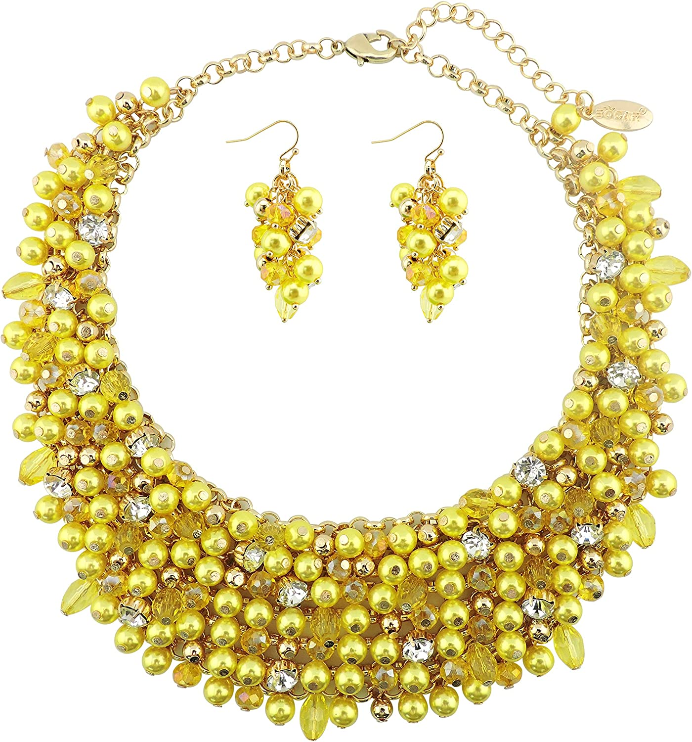 Bocar Fashion Crystal Chunky Collar Statement Necklace Earring Set for Women Gift (NK-10260)