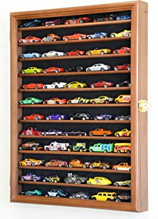 sfDisplay.com, Factory Direct Display Cases Hot Wheels Matchbox 1/64 scale Diecast Model Display Case Cabinet Wall Rack w/UV Protection -Walnut
