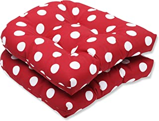 Pillow Perfect Indoor/Outdoor Red/White Polka Dot Wicker Seat Cushions, 2-Pack