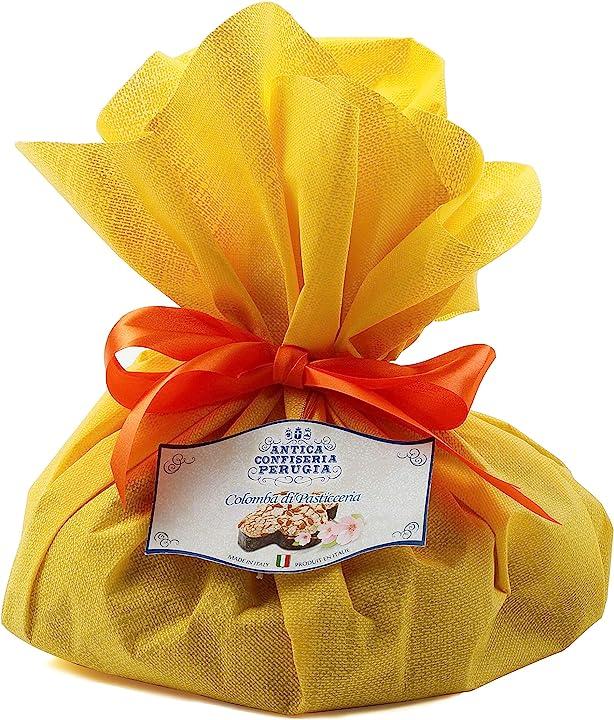 Colomba pasquale artigianale confezionata a mano con incarto in tessuto giallo [500g] - speciale italia B06W2NRN3F
