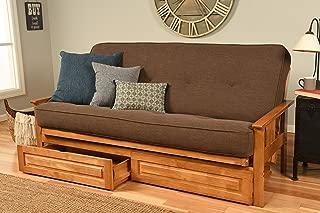 Kodiak Furniture Monterey Futon Set with Butternut Finish and Storage Drawers, Full, Linen Cocoa