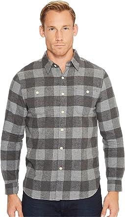 Highway 1 Roadtrip Heather Melange Flannel Plaid Long Sleeve Shirt