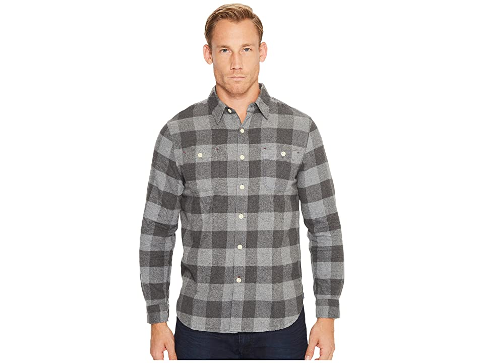 True Grit Highway 1 Roadtrip Heather Melange Flannel Plaid Long Sleeve Shirt (Charcoal/Grey) Men