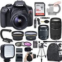 Canon EOS Rebel T6 DSLR Camera with Canon EF-S 18-55mm f/3.5-5.6 is II Lens + Canon EF 75-300mm f/4-5.6 III Lens, Wide Angle Lens + 2X Telephoto Lens + New Video Bundle