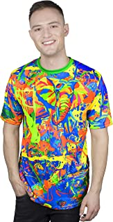 aofmoka Neon Blacklight Designed Printed Short Sleeve Men T-Shirt