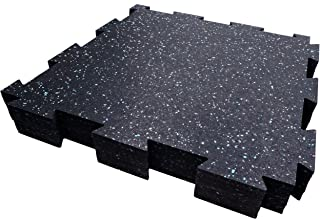 "Dinoflex Rubber King Interlocking Tiles – Best Indoor/Outdoor Performance Flooring 19"" x 19""- 6mm 10pc"