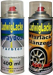 Sprayset für VW Zinngrau Farbcode LA7Y oder U9 oder 9727 Baujahr 1983   2013 Metallic Lack * 2 Spraydosen Ludwiglacke Lack Spray im Set   Eine Spraydose Basislack 400 ml und eine Dose Klarlack glänzend 400ml. Beide Spraydosen enthalten 1K Autolack.