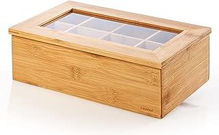 Lumaland Cuisine Caja de té de bambú con 8 Compartimentos de Aprox 28 x 16 x 9 cm Material sostenible práctico y Decorativo