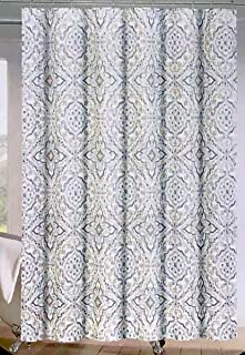 Cynthia Rowley Fabric Shower Curtain Geometric Floral Medallion Pattern in Shades of Beige and Gray on White - Flower Medallion