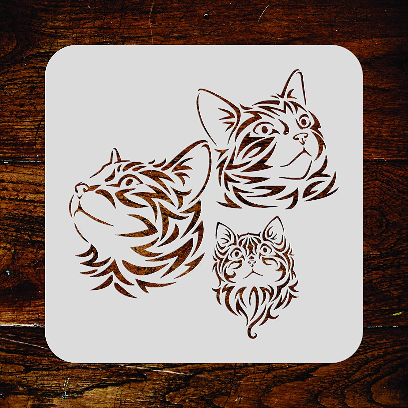 Cat Family Stencil - 6.5 x 6.5 inch (S) - Reusable Pet Animal Kitten Mural Wall Stencil Template - Use on Paper Projects Scrapbook Journal Walls Floors Fabric Furniture Glass Wood etc.