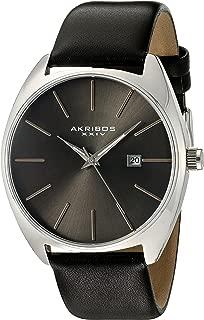 Akribos Xxiv Casual Watch Analog Display For Men Ak945Ssbk, Black Band, Leather Strap