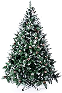 Senjie Artificial Christmas Tree 6,7,7.5 Foot Flocked Snow Trees Pine Cone Decoration Unlit(6 Foot Upgrade)