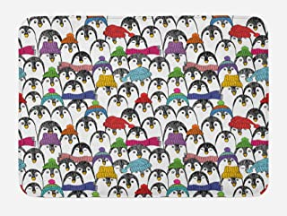 Ambesonne Sea Animals Bath Mat, Pattern with Penguins in Colorful Hats and Scarfs Cold Winter Fun Art, Plush Bathroom Decor Mat with Non Slip Backing, 29.5