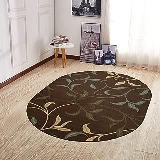 Ottomanson Ottohome Collection Contemporary Leaves Design Non-Skid Rubber Backing Modern Area Rug, 5' X 6'6