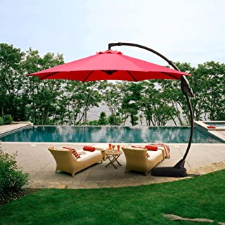 Grand patio Outdoor 11 FT Offset Umbrella with Base Included, Curved and Cantilevered, Aluminum (Brick Red