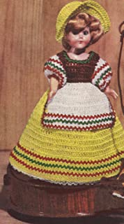 Vintage Crochet PATTERN to make - 8 inch Doll Clothes Dress Apron Poke Bonnet Hat. NOT a finished item. This is a pattern and/or instructions to make the item only.