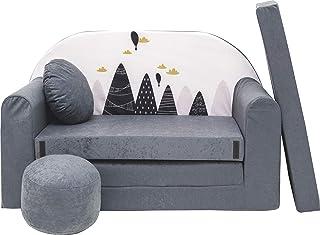 Pro Cosmo Canapé lit avec Pouf pour Enfants AX2 - Gris - 168 x 98 x 60 cm