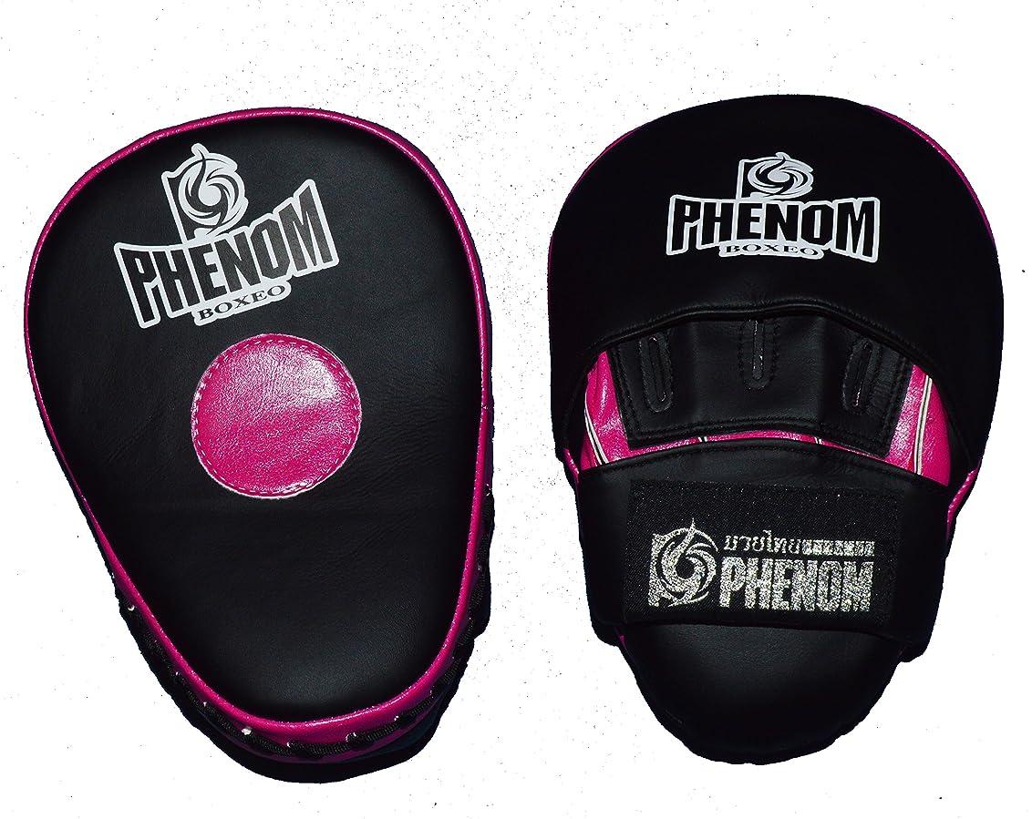 早熟エアコンウィスキーPHNEOM軽量湾曲パンチミット 黒色×ピンク 突き指防止、手首ガード
