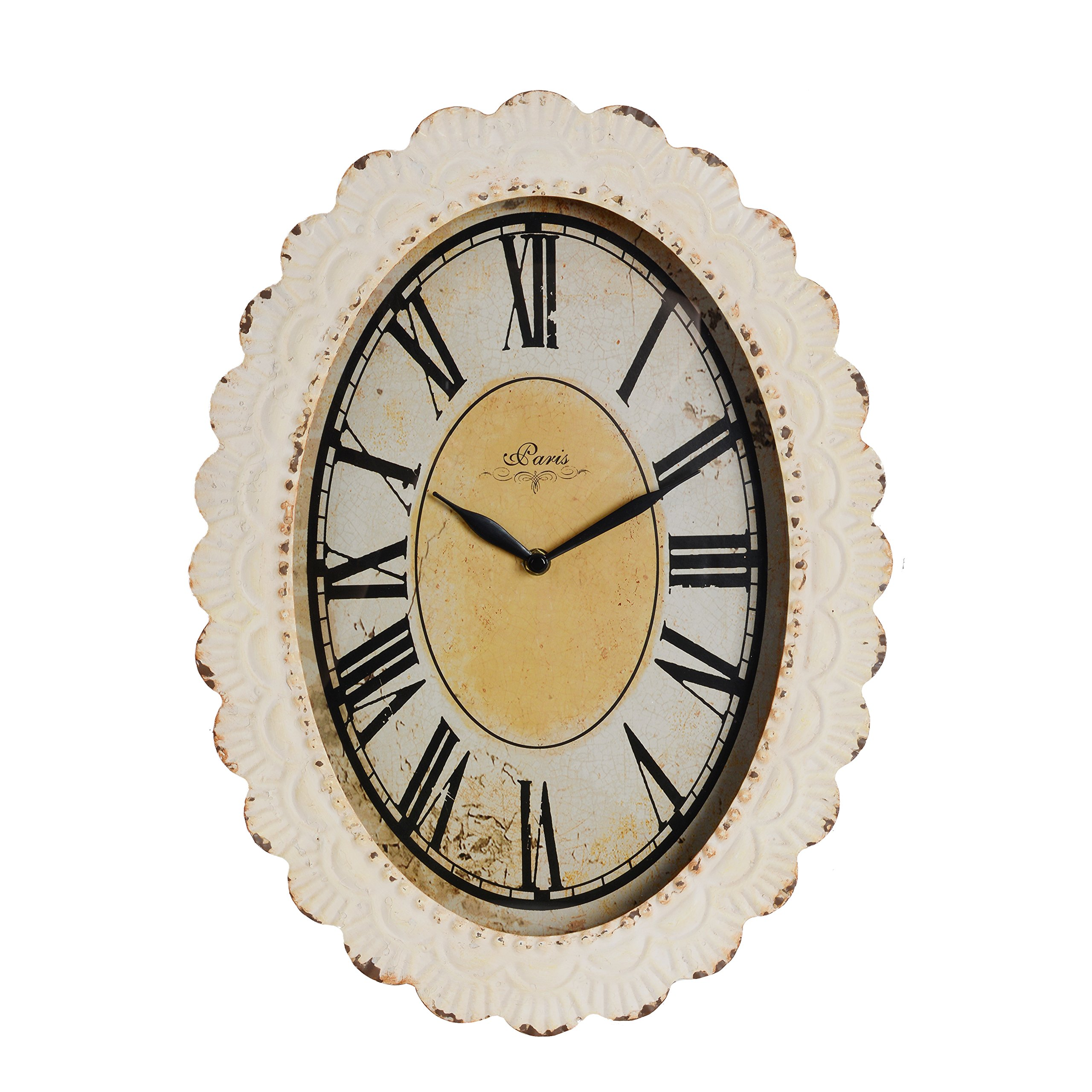 Nikky Home Oval Paris Decor Wall Clock 18 By 13 Inches Off White Antique Reproduction Buy Online In Aruba At Aruba Desertcart Com Productid 36520899