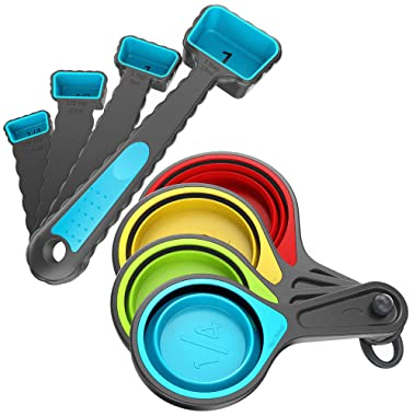 Kaptron Tools Spoons and Collapsible Measuring Cups Set 8 pcs, Multiple sizes, Multicolor