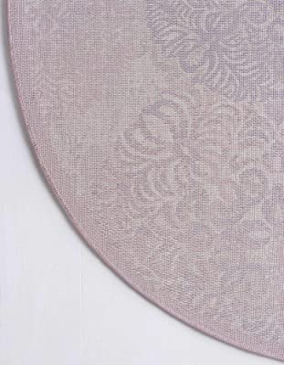 Unique Loom Aberdeen Collection Tone Traditional Textured Vintage Round Rug, 4' 0 x 4' 0, Violet/Ivory