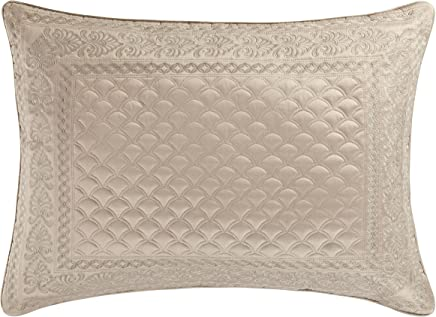 Five Queens Court Zarah Satin Damask Embroidered Pillow Sham King,  Taupe