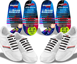 No Tie Shoelaces - 2 Pack. Slip On Tieless Elastic Silicone Shoe Laces for Kids Adults & Seniors. Great for Sneakers and Casual Footwear