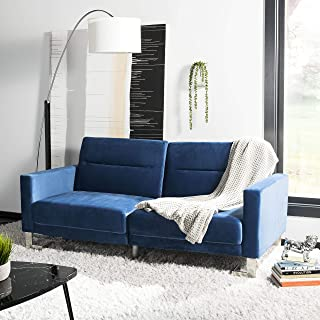 Safavieh Home Collection Tribeca Navy and Silver Foldable Sofa Bed, Steel
