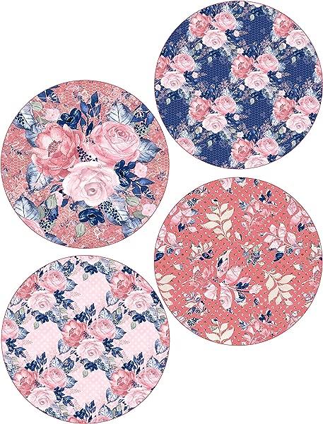 Navy Blush Floral Coasters Spring Neoprene Set Of 4