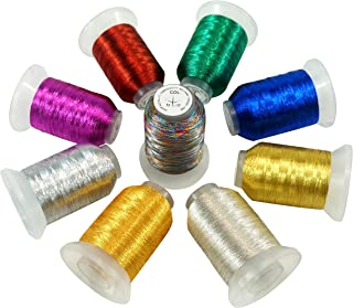 New brothread 9 Grund Farben Metallic Maschinen Stickgarn 500M für Computerized Stickerei und Dekoratives Nähen