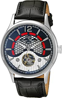 Lucien Piccard Men's 'Transway' Automatic Stainless Steel and Black Leather Casual Watch (Model: LP-15038-01)