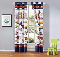 Elegant Home Construction Equipment Trucks Cement Mixers Backhoes Crane Design Boys / Kids Room Window Curtain Treatment Drapes 2 Piece Set with Grommets (Construction Blue)