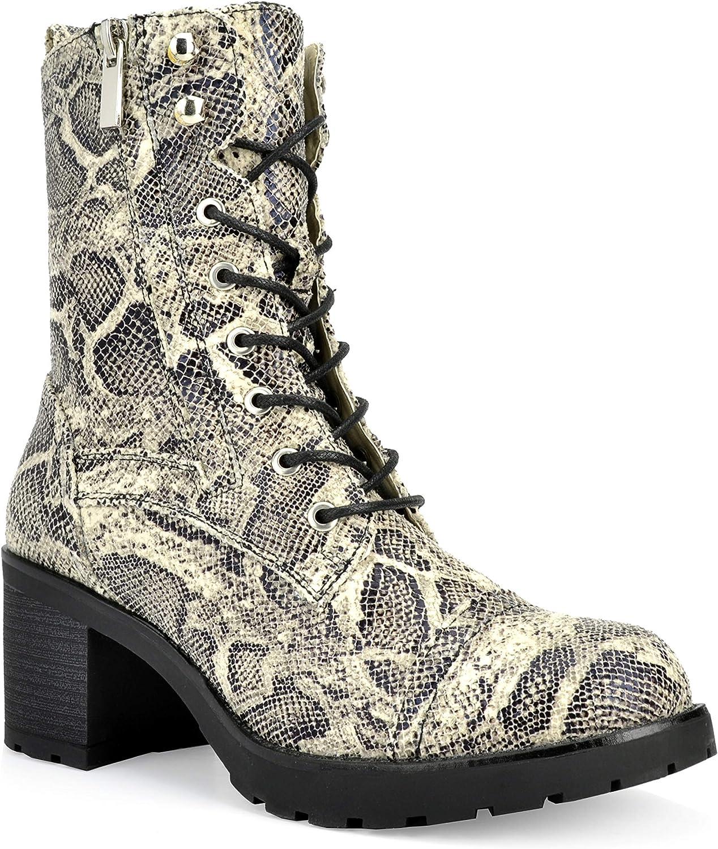Shoe Republic LA Women's Lace Up Combat Boots Side Zip Platform Heel Mid Calf Booties