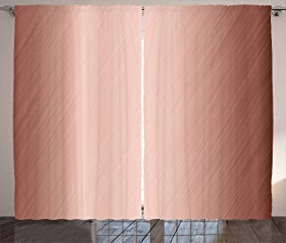 """Ambesonne Abstract Curtains, Abstract Smooth Surface Image Diagonal Lines with Ombre Details, Living Room Bedroom Window Drapes 2 Panel Set, 108"""" X 63"""", Rose Blush"""