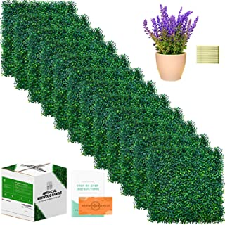 Boxwood Panels - 12 Pieces of Artificial Boxwood Panels & Artificial Plant Included - 20 x 20 Inch for 33 SQ Feet Per Boxwood Hedge Set - Use For Fence Privacy Screen, Grass Wall & Greenery Backdrop