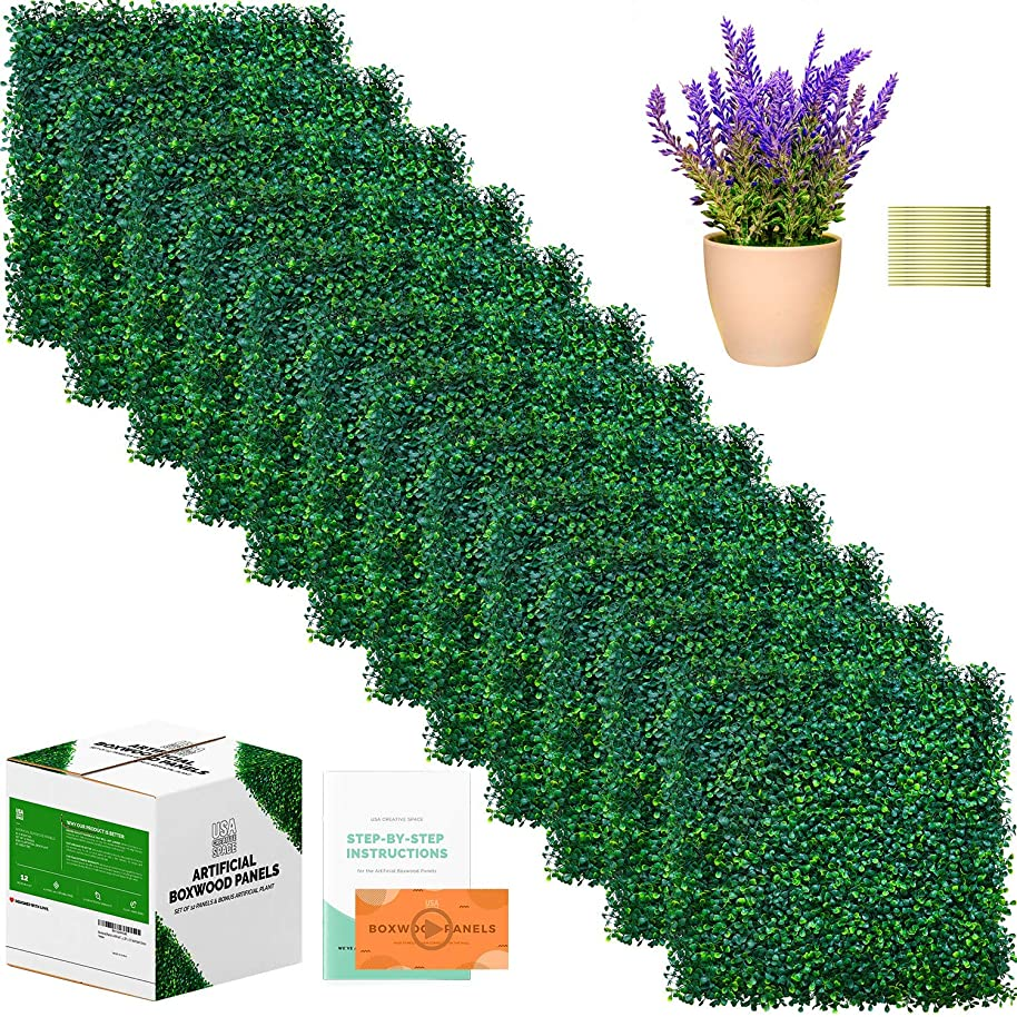 Boxwood Panels | 12 Pieces of Artificial Boxwood Panels & Artificial Plant Included | 20 x 20 Inch for 33 SQ Feet Per Boxwood Hedge Set | Use For Grass Wall, Greenery Backdrop, Home & Office