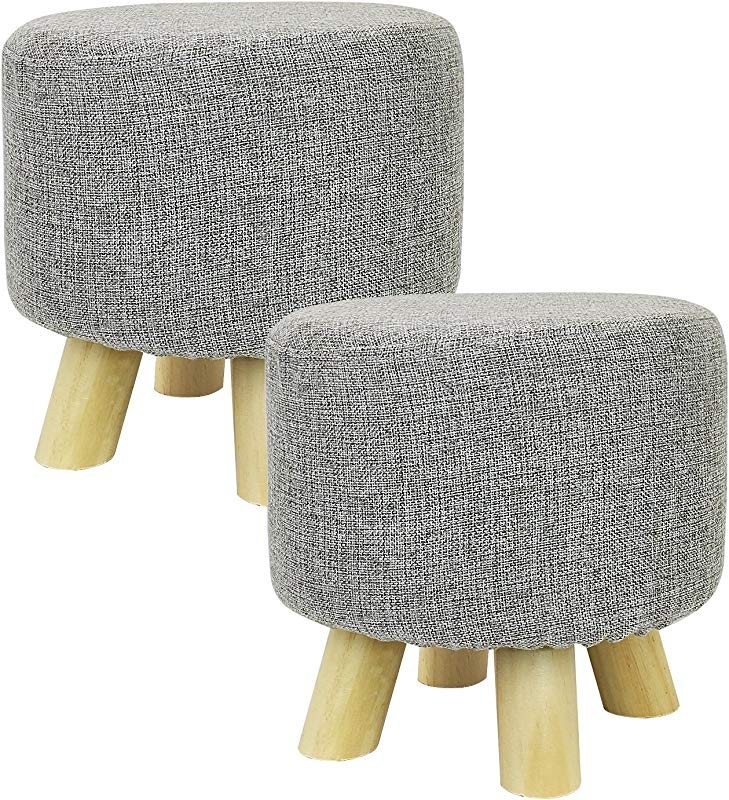 Met Life 2 Piece Round Ottoman Foot Stool 4 Leg Stands Round Shape Linen Fabric Gray