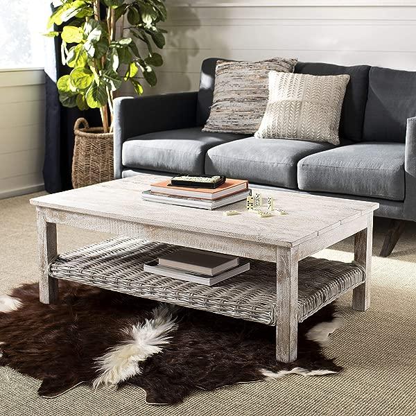 Safavieh Home Collection Minerva White Wash Rattan Coffee Table